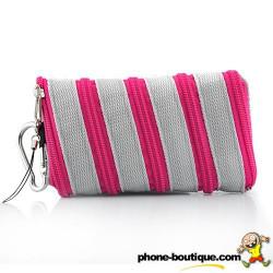 Etui chaussette ZIPPER rose pour telephones et lecteurs mp3