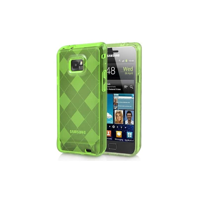 coque damier verte pour samsung galaxy s2. Black Bedroom Furniture Sets. Home Design Ideas