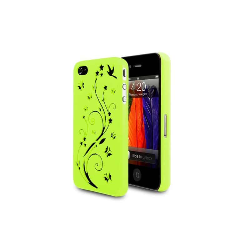 coque verte butterfly gravee pour iphone 4 et 4s. Black Bedroom Furniture Sets. Home Design Ideas
