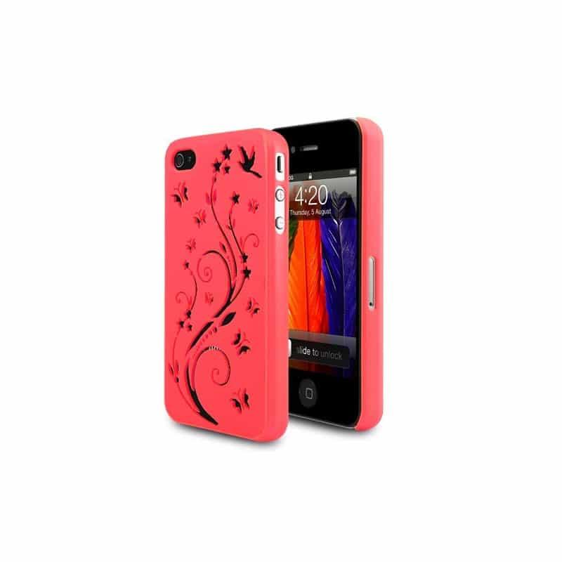 coque rose butterfly gravee pour iphone 4 et 4s. Black Bedroom Furniture Sets. Home Design Ideas