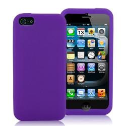 Coque silicone mauve pour iPhone 5 5S et SE