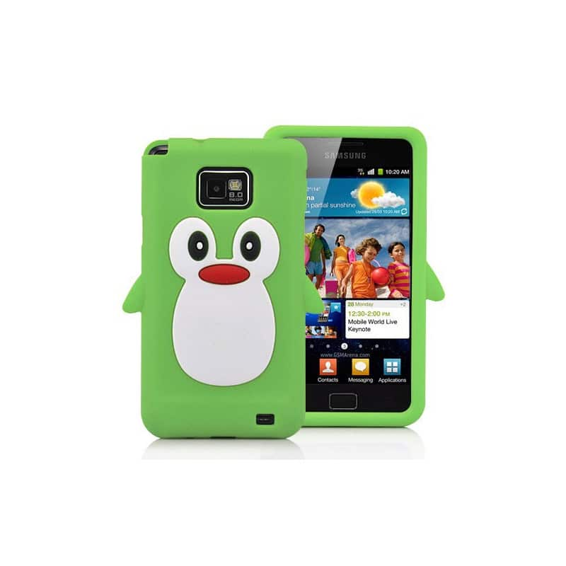 coque pingouin verte pour samsung galaxy s2. Black Bedroom Furniture Sets. Home Design Ideas