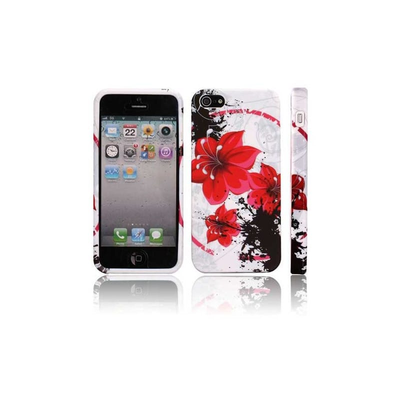 coque flower rouge pour iphone 5 et se. Black Bedroom Furniture Sets. Home Design Ideas