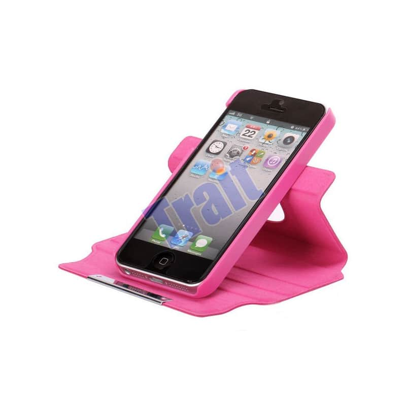 etui rabattable 360 rose pour iphone 5 5s se. Black Bedroom Furniture Sets. Home Design Ideas