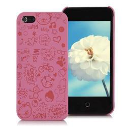 Coque HAPPY rose pour iPhone 5 5S SE