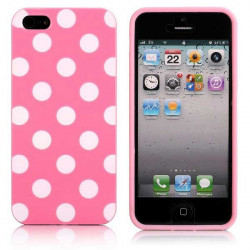 Coque rose a POIS blancs pour iPhone 5 5S SE