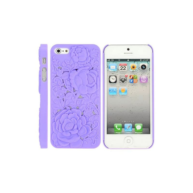 coque rose 3d mauve pour iphone 5 5s et se. Black Bedroom Furniture Sets. Home Design Ideas
