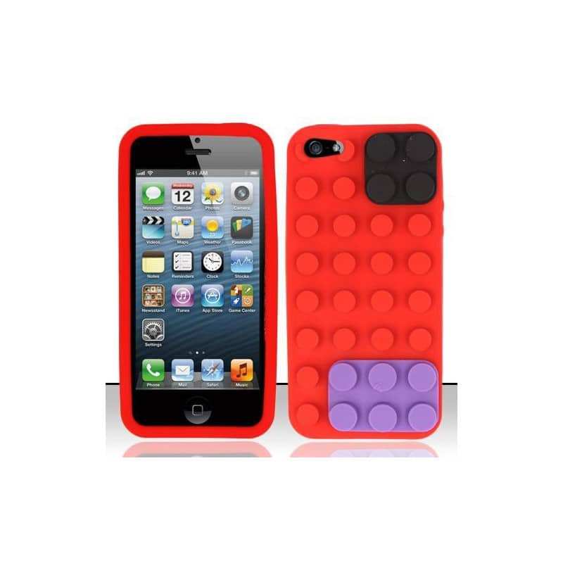 coque lego rouge pour iphone 5 5s et se. Black Bedroom Furniture Sets. Home Design Ideas