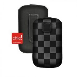Pochette CHIC noire DAMIER  universelle pour telephones et lecteurs mp3
