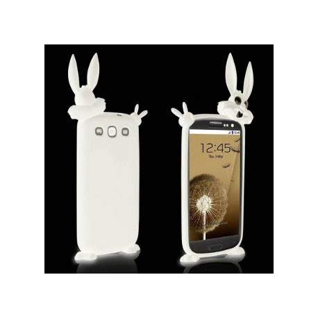 Coque LAPIN 3D Blanche Pour SAMSUNG GALAXY S3