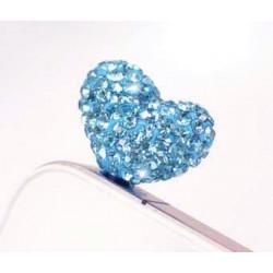 Cache Jack coeur bleu pour telephones et Mp3