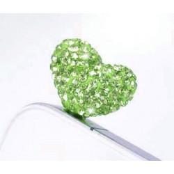 Cache Jack coeur vert pour telephones et Mp3