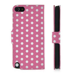 Etui cuir POIS roses pour IPOD TOUCH 5