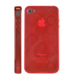 """Coque """" circle """" de couleur rouge pour Iphone 4"""