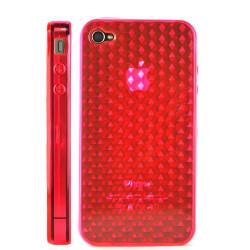 Coque nid d'abeilles de couleur rouge pour Iphone 4