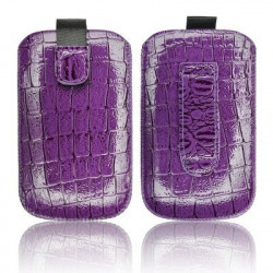 Pochette cuir CHIC CROCO violette pour telephones et lecteurs mp3