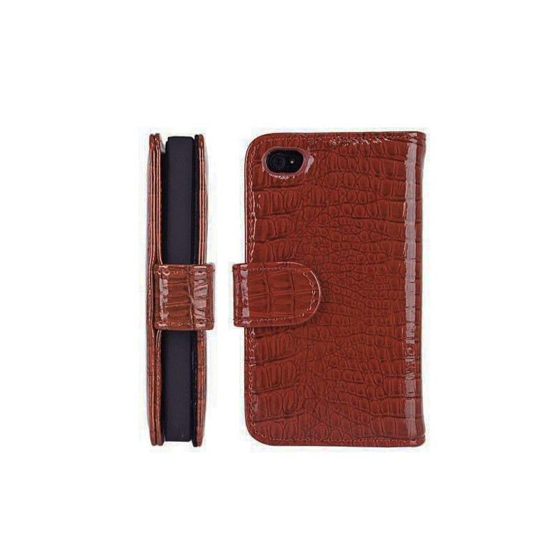 etui portefeuille crocodile en rabattable marron pour iphone 4 4s. Black Bedroom Furniture Sets. Home Design Ideas