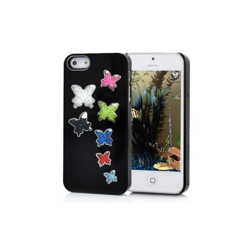 coque papillons diamants noire pour iphone 5 5s se. Black Bedroom Furniture Sets. Home Design Ideas