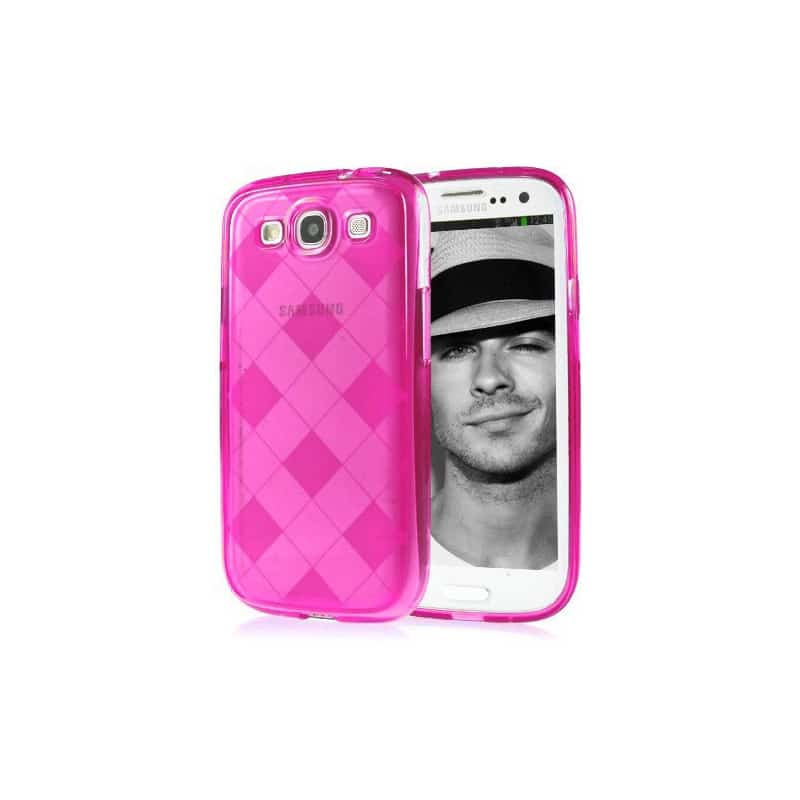coque damier rose pour samsung galaxy s3. Black Bedroom Furniture Sets. Home Design Ideas