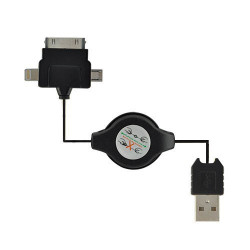 Cable USB rétractable pour iPhone, iPod, iPad, Samung, Htc