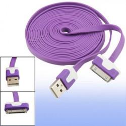 Câble USB LUXE mauve et blanc pour Iphone, Ipad et Ipod .