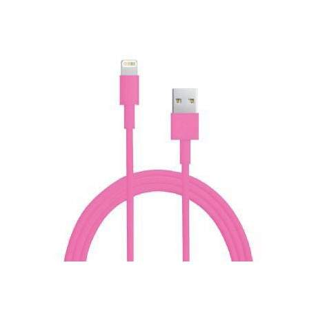 Câble USB LIGHTNING rose pour Iphone 5, Ipad 4 Ipod touch 5 et nano 7.