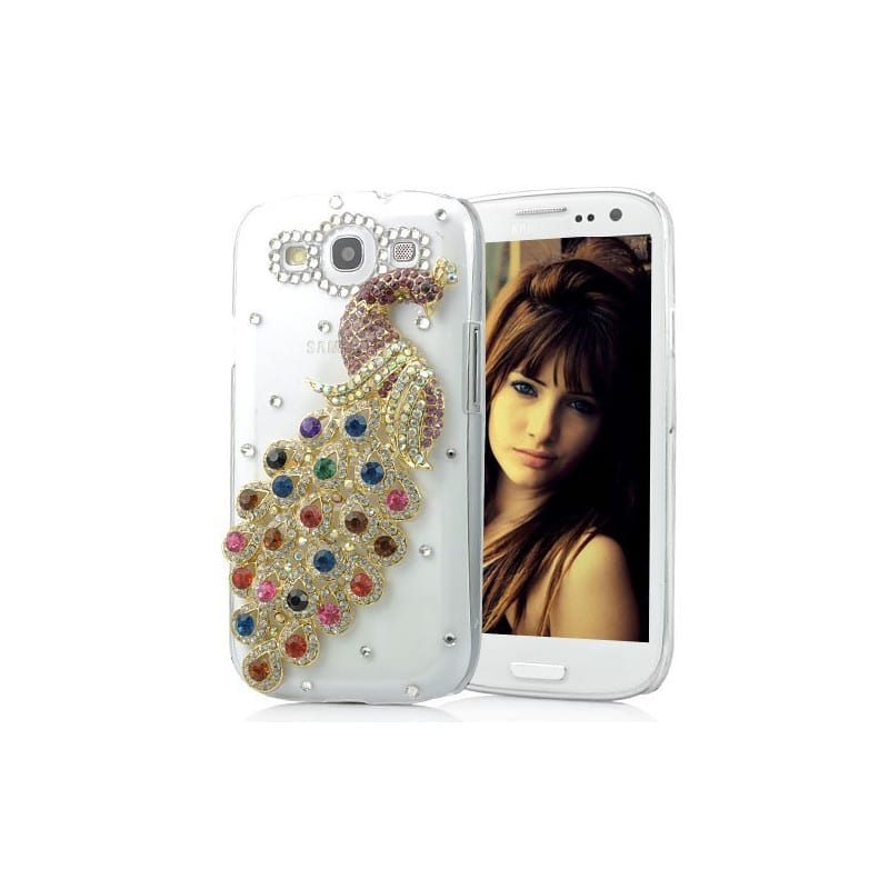 coque strass paon pour samsung galaxy s3. Black Bedroom Furniture Sets. Home Design Ideas
