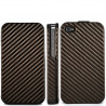 Etui rabattable carbone cafe pour Iphone 4 et 4S