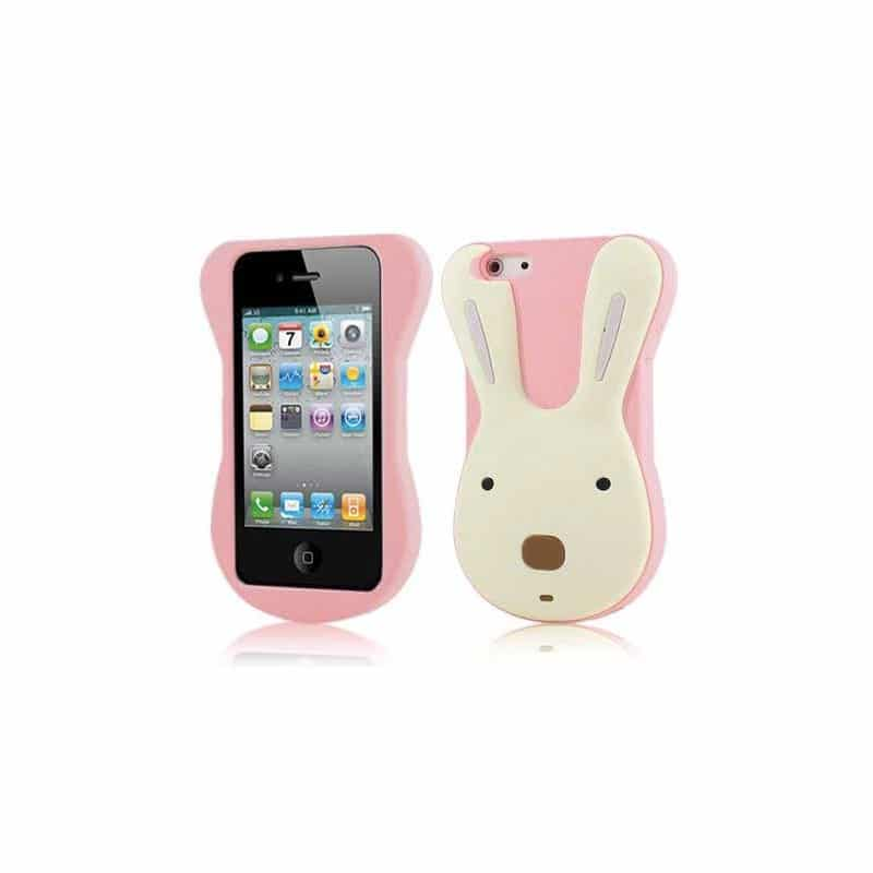 coque cute rabbit rose pour iphone 4 et 4s. Black Bedroom Furniture Sets. Home Design Ideas