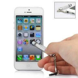 MINI Stylet DIAMOND BLANC pour telephones et MP3 tactiles .