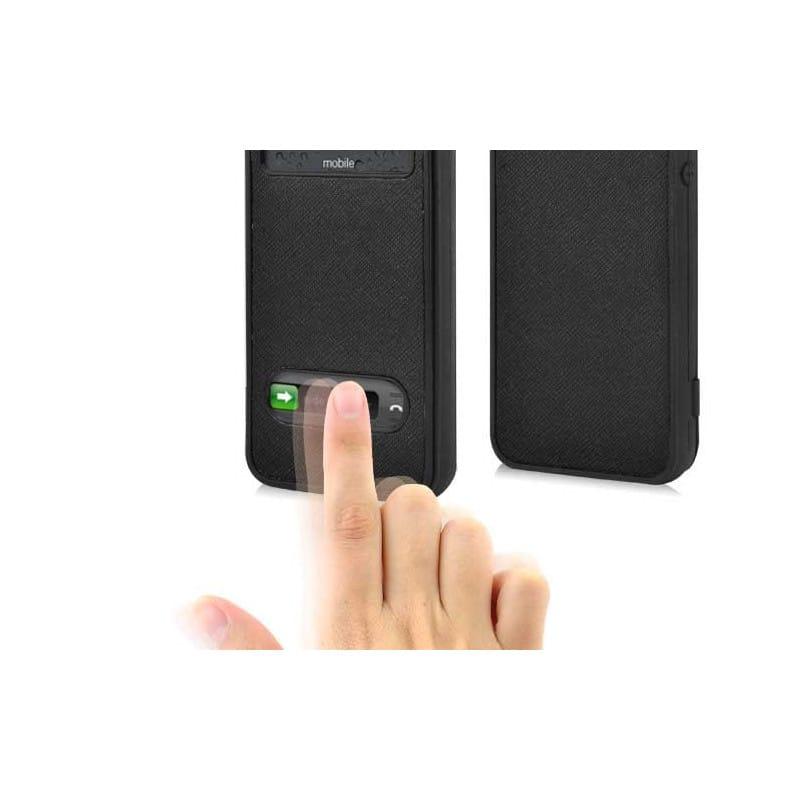 etui rabattable smart fenetre noir pour iphone 5 et 5s. Black Bedroom Furniture Sets. Home Design Ideas