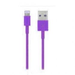 Câble USB LIGHTNING mauve pour Iphone 5, 5C, 5S, 6, 6+, Ipad 4 Ipod touch 5 et nano 7.