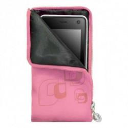 Pochette ZIP rose universelle pour telephones et lecteurs mp3