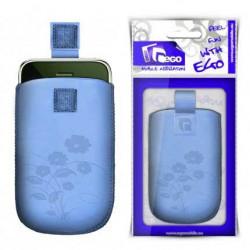 Pochette FLOWER bleue universelle pour telephones et lecteurs mp3