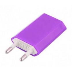 Mini chargeur mauve secteur  220V pour téléphones, tablettes ou lecteurs MP3