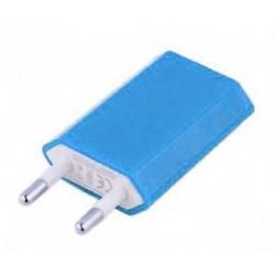 Mini chargeur bleu secteur 220V pour téléphones, tablettes ou lecteurs MP3