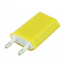 Mini chargeur jaune secteur 220V pour téléphones, tablettes ou lecteurs MP3