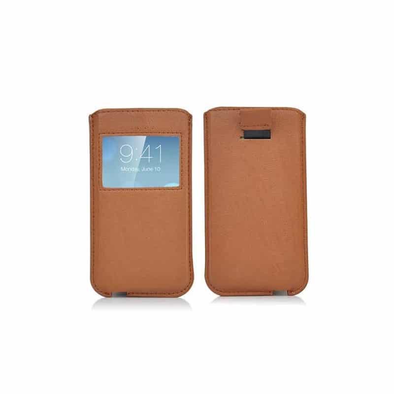 pochette FENETRE marron pour iPhone 4, 5, 5S 5C et SE