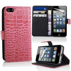 Etui cuir portefeuille CROCO rose pour iPhone 5 et 5S