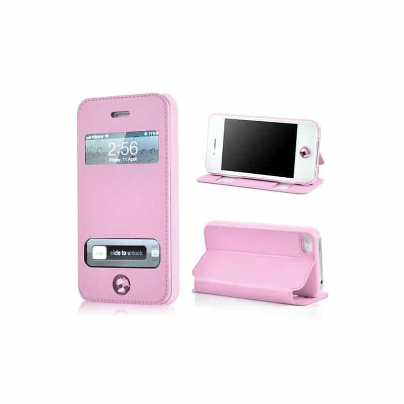 etui rabattable fenetre deluxe rose pour iphone 4 et 4s. Black Bedroom Furniture Sets. Home Design Ideas