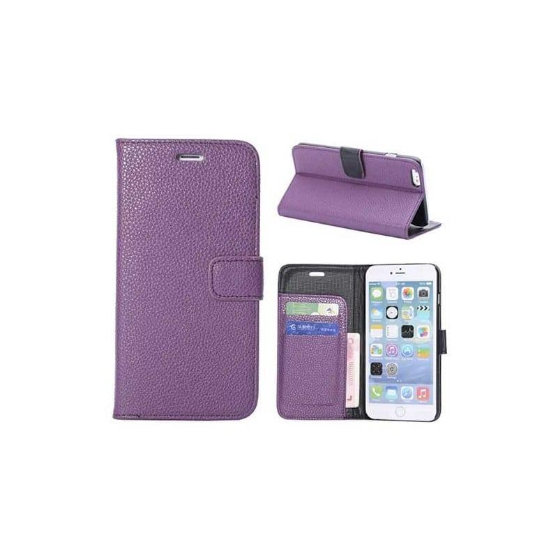 Etui cuir mauve portefeuille pour iphone 6 plus 5 5 for Etui iphone 6 portefeuille