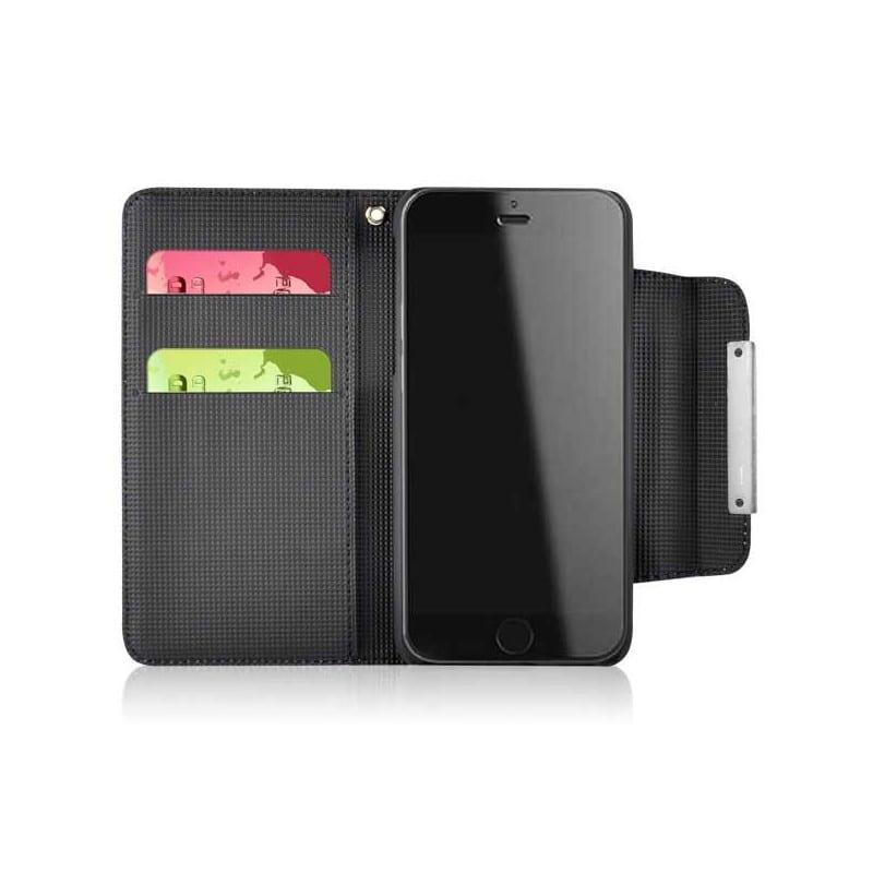 etui rabattable portefeuille folio noir pour iphone 6 4 7. Black Bedroom Furniture Sets. Home Design Ideas