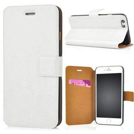 Etui cuir PULL UP blanc pour iPhone 6 ( 4.7 )