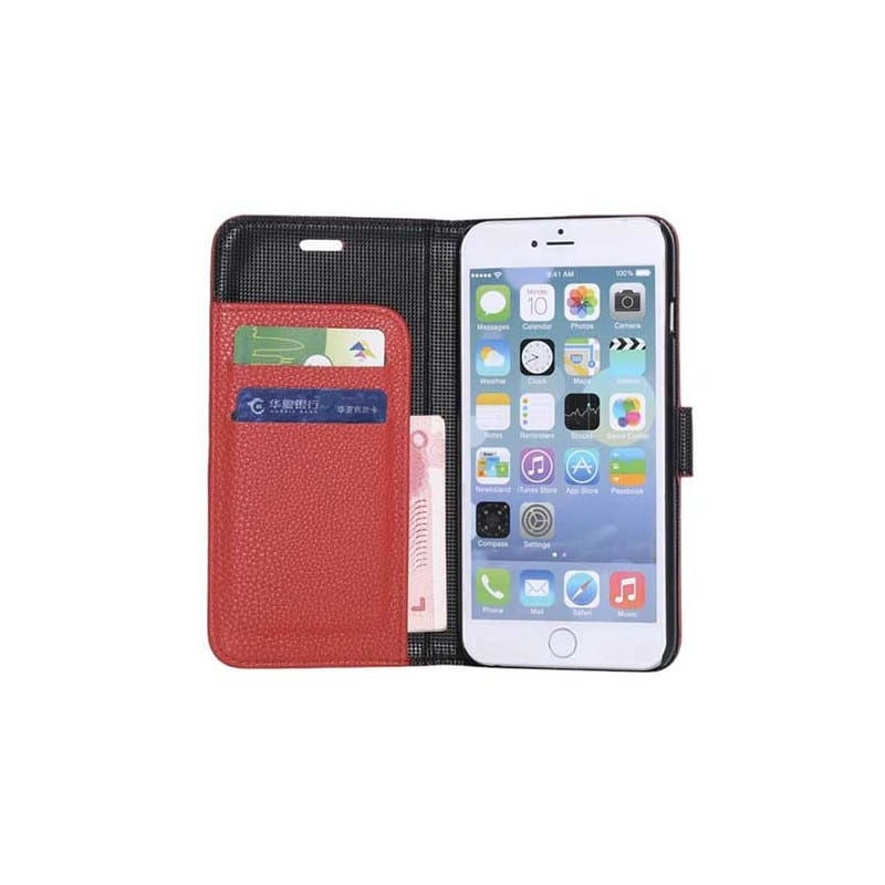 Etui cuir rouge portefeuille pour iphone 6 plus 5 5 for Etui iphone 6 portefeuille