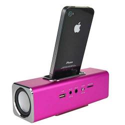 Haut parleurs station d'accueil rose pour iphone, ipod et pour autres telephones