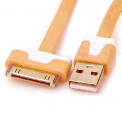 Câble USB LUXE orange et blanc pour Iphone, Ipad et Ipod .