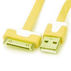 Câble USB LUXE jaune et blanc pour Iphone, Ipad et Ipod .