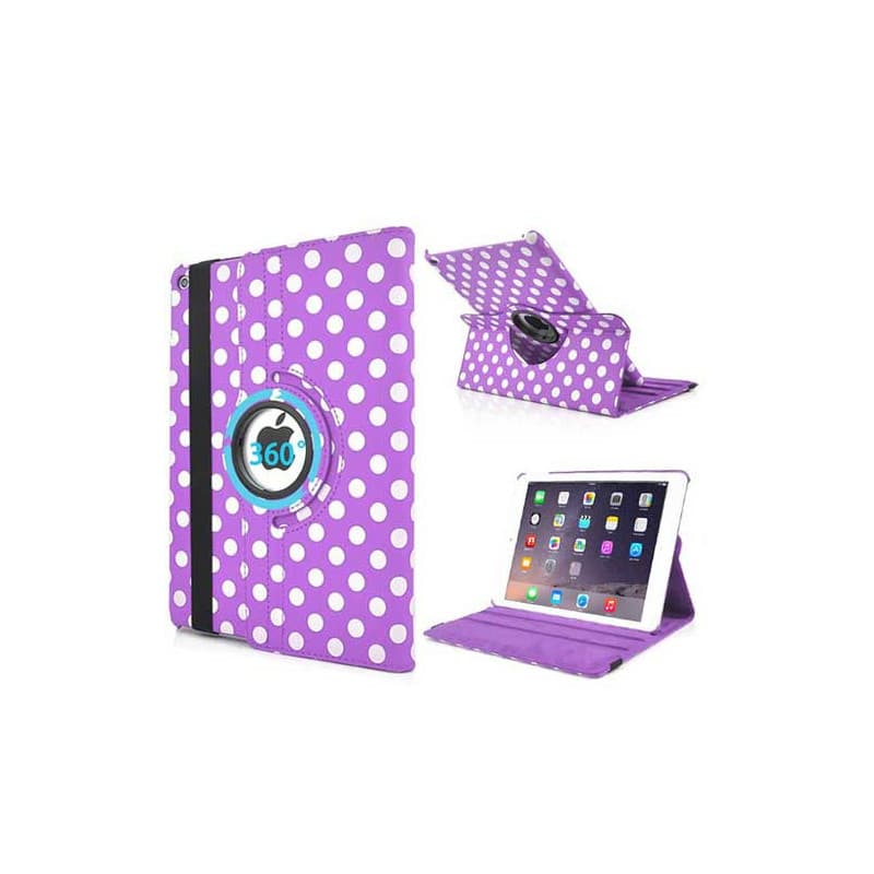 etui rabattable 360 pois mauve et blanche pour ipad air 2. Black Bedroom Furniture Sets. Home Design Ideas