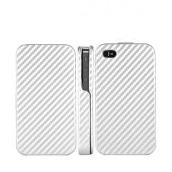 Etui cuir carbone blanc pour Iphone 4 et 4s
