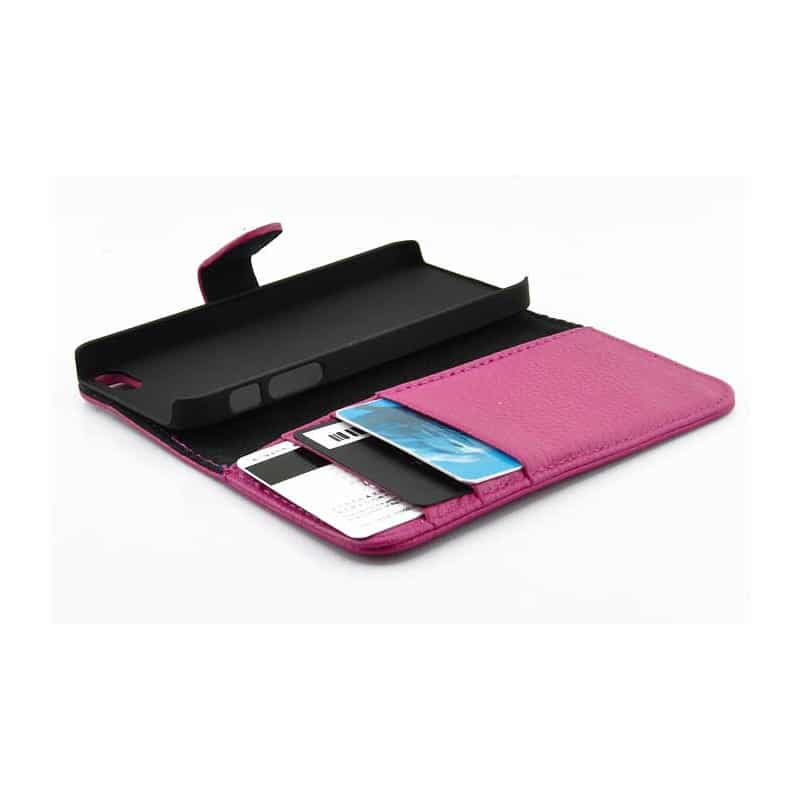 etui rabattable portefeuille rose pour iphone 5 et 5s. Black Bedroom Furniture Sets. Home Design Ideas